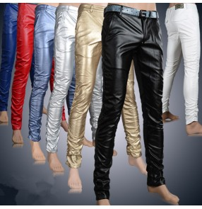 Light blue black silver black light gold red pu leather men's male performance stage performance fashion motorcycle show play jazz dance singer dj ds long length pants trousers dance wear