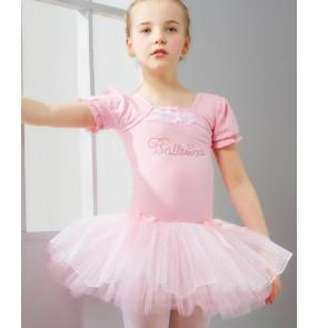 Light blue pink short sleeves girls kids toddlers baby child competition gymnastics practice ballet tutu skirt dance costumes dresses