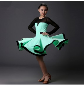 Light green fuchsia black patchwork colored girls kids child children baby long sleeves competition  professional standard latin ballroom dance dresses