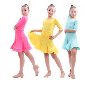 Light green mint royal blue fuchsia colored middle long sleeves round neck Girls kids child children baby competition professional swing skirt latin dance dresses