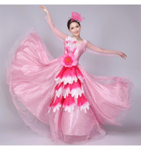 3ed3bbd755f5 ... long sleeves womens women's ladies female modern dance spring summer opening  dance chorus stage performance big swing flamenco dance dresses folk dance  ...
