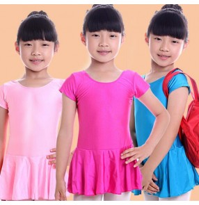 Light pink hot pink fuchsia blue turquoise yellow red black short sleeves girls kids child children toddlers practice gymnastics leotard latin ballet tutu skirt dance costumes dresses