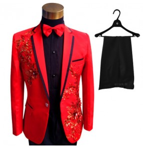 Luxury  Men red Suits ( Jacket + Pants )  Fashion Black Paillette Embroidered Male Singer ballroom latin Slim Performance Party Prom Costumes blazer Sets