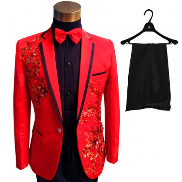 Luxury Men red Suits ( Jacket + Pants ) Fashion Black Paillette Embroidered  Male Singer ballroom latin Slim Performance Party Prom Costumes blazer
