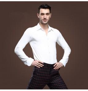 Male Men's turn down collar white latin dance top ballroom waltz dance shirt