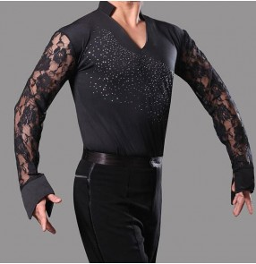 Man adult Black lace long sleeves v neck stand collar boys kids children  sequins men's competition performance professional latin ballroom tango waltz flamenco dance tops shirts for men