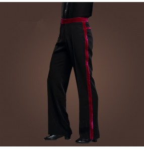 Men Latin Dance Pants Velvet Mens Ballroom Dance Pants Black/Red Rumba/Samba/Tango/Cha Cha/Jazz Dancewear