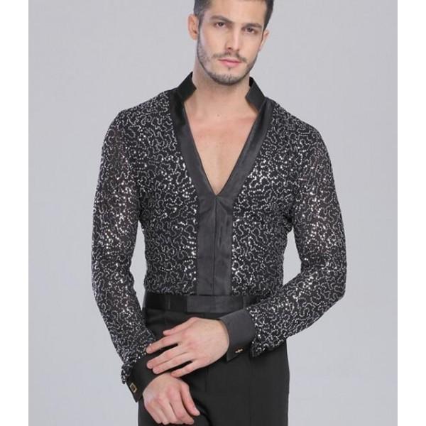 f9803eb46 Men Latin Shirt Adult Latin Dance Tops Clothing For Dance Deep V-Neck Man  Long Sleeve Dance Dress Waltz