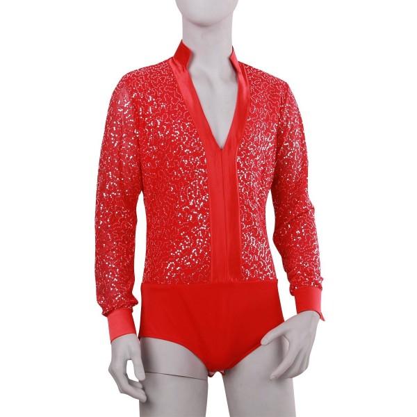 283e04a46 Men Latin Shirt Adult Latin Dance Tops Clothing For Dance Deep V-Neck Man Long  Sleeve Dance Dress Waltz