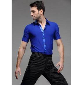 Men's ballroom latin short sleeves latin dance shirt top
