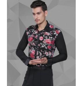 Men's flower printed patchwork latin dance shirt ballroom dancing top