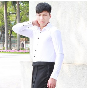 Men's latin ballroom waltz dance white black shirt dance tops