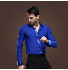 Men's latin  dance shirt ballroom dance top royal blue long sleeves turn down collar