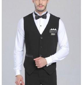 Men's latin modern dancing vest top black
