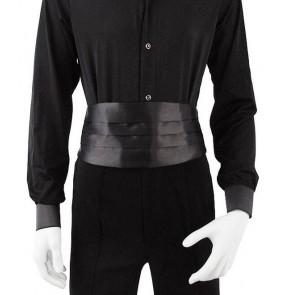 Men's male  black red white satin fabric boys latin ballroom waltz dance sashes  adjustable length strape waistband girdle