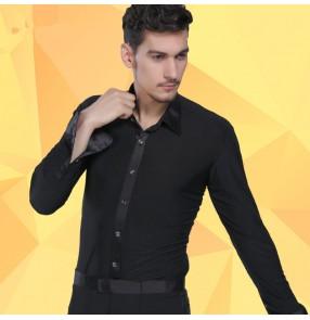 Men's male black striped latin ballroom dance shirt waltz dance top