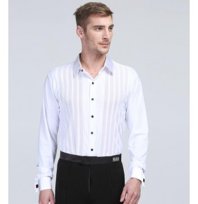 Men's male competition professional white long sleeves striped latin dance shirt ballroom dance tops  waltz tango dance shirts