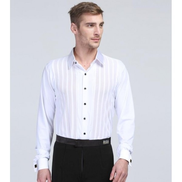 3f1064acf Men's male competition professional white long sleeves striped latin dance  shirt ballroom dance tops waltz tango dance shirts