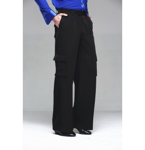 Men's male competition with pockets wide leg latin ballroom dance pants