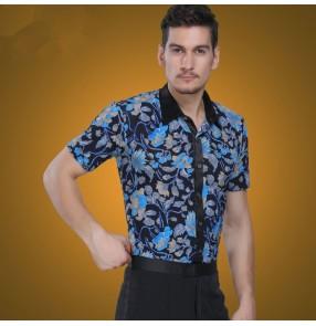 Men's male fashionable blue floral printed short sleeves latin dance modern  ballroom jive dance shirt