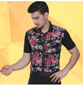 Men's male floral printed latin dance jive ballroom dance shirt