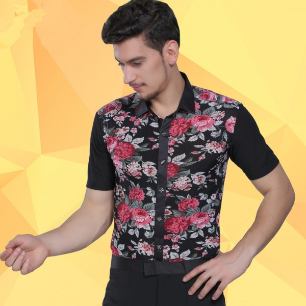 95e81bbf9 Men's male floral printed latin dance jive ballroom dance shirt