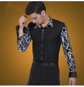 Men's male long sleeves striped pattern patchwork latin dance shirt ballroom jive shirt