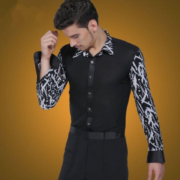 4cb6f0877 Men's male long sleeves striped pattern patchwork latin dance shirt  ballroom jive shirt