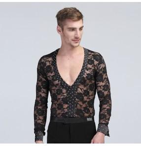 Men's male man black lace v neck sexy long sleeves competition spring summer leotard rhinestones flamenco latin dance shirts ballroom dance tops shirt