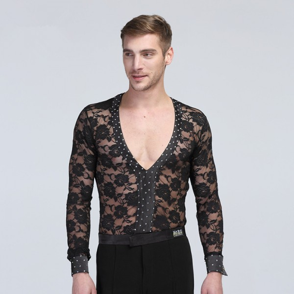 Mens Male Man Black Lace V Neck Sexy Long Sleeves Competition Spring Summer Leotard -6836