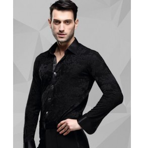 Men's male man black long sleeve down collar jacquard 3d flower compeitition ballroom latin dance shirts jive  cha cha waltz tango dance tops shirts