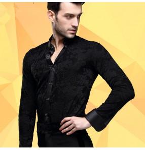 Men's male man black stand collar 3d jacquard pattern long sleeves competition high quality latin dance shirts ballroom waltz tango jive cha cha dance shirts tops