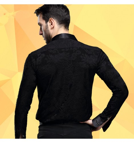 296c6b87d Men's male man black stand collar 3d jacquard pattern long sleeves  competition high quality latin dance shirts ballroom waltz tango jive cha  cha dance ...