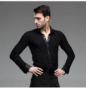 Men's male man black turn down collar 3D  pattern long sleeves high quality competition professional latin waltz chacha tango ballroom dance shirts tops