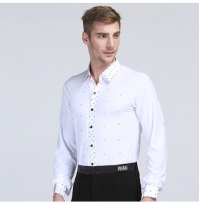 Men's male man rhinestones white black long sleeves down collar compettion boys latin ballroom waltz tango cha cha dance shirts dance tops