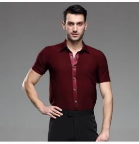 Men's male man short sleeves turn down wine red professional competition exercises professional latin waltz tango ballroom jive rumba dance shirts tops
