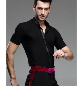 Men's male man summer short sleeves standard collar black latin ballroom waltz tango salsa cha cha jive rumba dance shirts tops