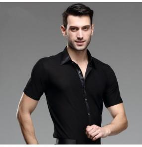 Men's male man turn down collar short sleeves black professional competition exercises ballroom waltz latin dance jive dance rumba shirts tops