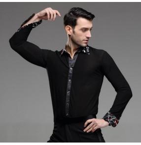 Men's male printed down collar black latin dance shirt ballroom waltz dance top