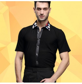 Men's male printed turn collar short sleeves latin dance shirt ballroom dance shirt