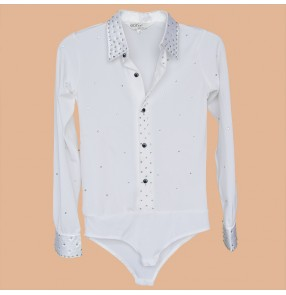 Men's  male's man boys kids child white rhinestones down collar waltz latin shirts samba rumba ballroom shirts tops