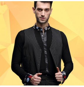 Men's male striped black latin ballroom dance waltz vest top (only vest)