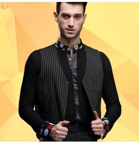 Men's male striped black latin ballroom dance waltz vest top (only vest)