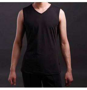 Men's male summer exercise  sports black v neck latin dance vest ballroom dance tango waltz dance sleeveless top