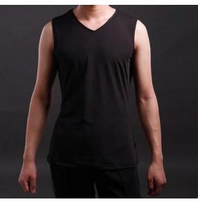 Men's male summer exercise  sports black v neck latin dance vest ballroom dance tango waltz dance sleeveless top
