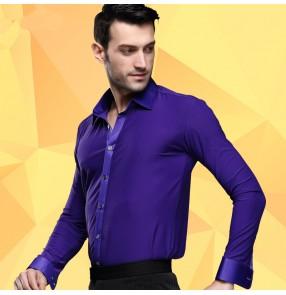 Men's man male purple violet turn down collar long sleeves latin dance shirts ballroom tango waltz shirts tops