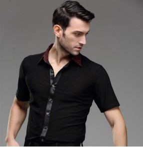 Men's man male re circle printed turn down collar short sleeves professional competition exercises latin dance shirts ballroom waltz tango jive rumba dance top shirts
