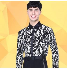 Men's man male sexy white and black striped printed long sleeves latin dance shirts ballroom waltz dance shirts tops