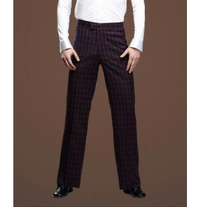Men's plaid pattern red green latin ballroom dance pants