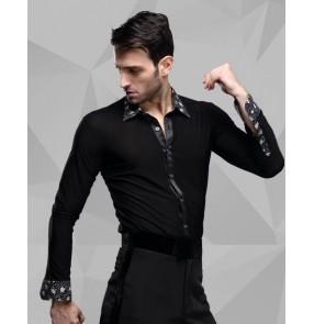 Men's printed collar turn down long sleeves latin dance shirt ballroom dance top